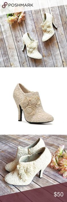 """Dolce by Mojo Moxy Beige Flora Bootie 🌷 ★ Excellent condition. NIB, but box has been beaten up in storage.  ★ Sweeten your look with these adorable booties from Dolce by Mojo Moxy. With crochet detailing and cute flower accents, the Flora ankle boot adds the perfect touch to your wardrobe. ★ NO TRADES!  ★ NO MODELING!  ★ YES REASONABLE OFFERS!  ★ Measurements: 4.25"""" heel. Dolce by Mojo Moxy Shoes Ankle Boots & Booties"""