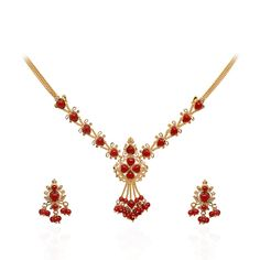 Coral & Pearl | Coral Heart Beads Gold Necklace with Earrings | GRT Jewellers
