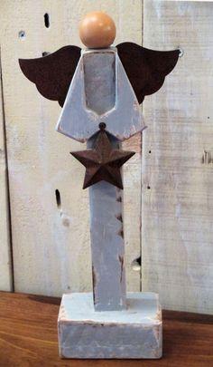 Primitive Wooden Angel Figure