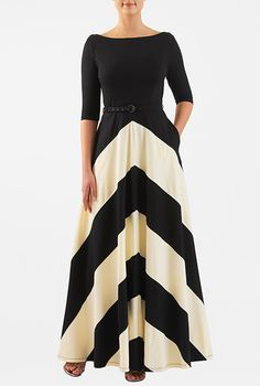 Contrast tones vitalize our feminine fit-and-flare dress styled with a boat neckline and banded chevron stripes at the full flared skirt. Weekend Dresses, Day Dresses, Casual Dresses, Summer Dresses, Work Dresses, Fit N Flare Dress, Dress Design Drawing, Jersey Knit Dress, Maxi Dresses