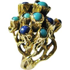 Modernist 14 Karat Gold Ring With Lapis & Turquoise Size 7 1/2 from Tannery Creek Antiques at RubyLane.com