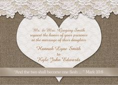 Religious Wedding Invitation, Lace and Burlap Look, Lace Heart, Satin Look Ribbon