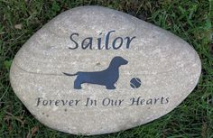 Pet Memorial Stone Dachshund & Other Dog Breeds 10-11 Inch Memorial River Stone
