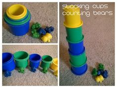 Quiet lap activities for traveling with a toddler: STACKING CUPS AND COUNTING BEARS