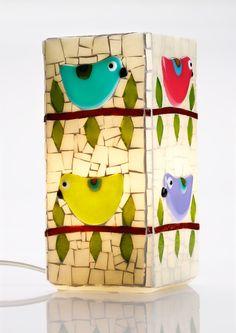 Mosaic Bird Lamp por raquelsbirds en Etsy