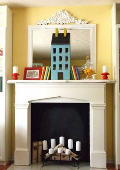 Deco interior design ideas-fireplace mantle nursery white wall color yellow candles Dollhouse