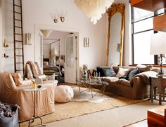 Loft Living II by Heather Garrett Interior Design Living Room Decor, Living Spaces, Luxury Interior, Interior Design, Design Interiors, Loft House, Loft Style, A Boutique, Old Houses
