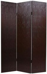 6 ft. Tall Faux Leather Brown Snakeskin Room Divider Screen