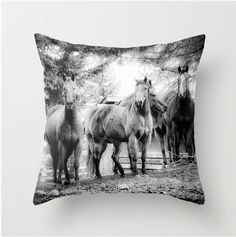 Horses Decorative Throw Pillow Cover