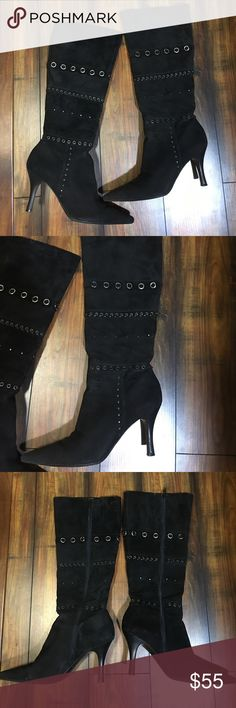 Antonio Melani Firenze boots EUC. Beautiful boots! Please see photos. Black suede with silver grommet design. ANTONIO MELANI Shoes Heeled Boots