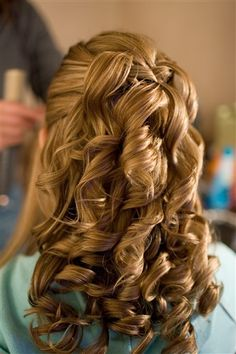 half up do with ringlets and corkscrew curls, for long hair or medium hair