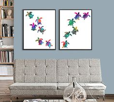 Baby Turtles Watercolor Print Watercolor Painting by Thenobleowl