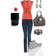 Love coral and grey