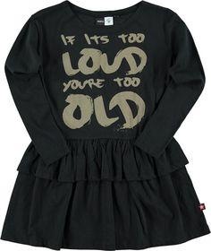 Christin - Black - molo langærmet kjole med flæsekant