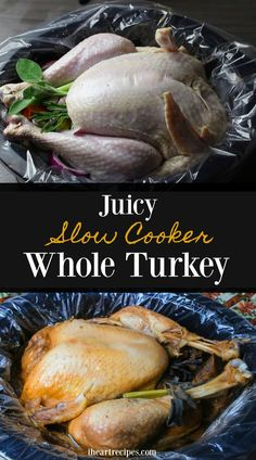 A juicy whole turkey recipe made completely in the slow cooker! No basting, no brining. Use this recipe, and you will have the juiciest turkey EVER! When I was younger my mom always slow cooked her Thanksgiving Turkey. She would prepare the turkey the day Turkey Crockpot Recipes, Whole Turkey Recipes, Slow Cooker Recipes, Cooking Recipes, Crock Pot Turkey, Cooking Tips, Dinner Crockpot, Crockpot Ideas, Turkey Dishes