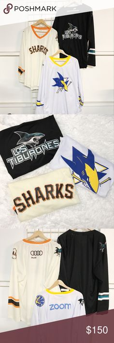 XLarge Bundle Of Sharks Hockey Jerseys This bundle includes the following 3 unisex hockey jersey size XLARGE:   •New San Jose Sharks Los tiburones SGA Mashup Hockey Jersey •New San Jose Sharks / white Golden State Warriors SGA Mashup Hockey Jersey •New San Jose Sharks / San Francisco Giants SGA Mashup Hockey Jersey  All in excellent condition and limited edition. Shirts Tees - Long Sleeve