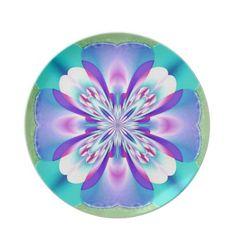 Aqua Blue White Pink Fractal Flower Plate