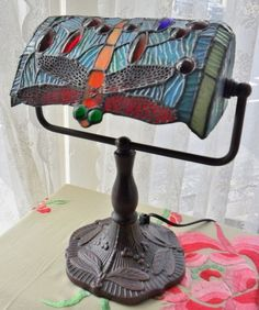Electronics, Cars, Fashion, Collectibles, Coupons and Tiffany Stained Glass, Stained Glass Lamps, Bankers Lamp, Lamp Light, Art Deco, Bronze, Jewels, Living Rooms, Table