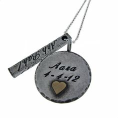 Silver Disc and Bar Necklace with 14K Gold Tiny Heart Accent Rustic Silver - Valentine's Gift VDay Gift Personalized Jewelry for Sweetheart