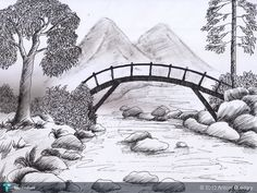 sketching pencil sketches easy drawings landscape sketch drawing nature scenery simple mountain beginners shading draw start step scene landscapes village