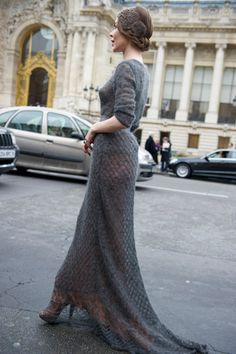A knitted gown...Why not? (Answer: because the thought of that lovely, delicate handwork dragging on the dirty street is making my teeth itch! But the dress itself is gorgeous.)