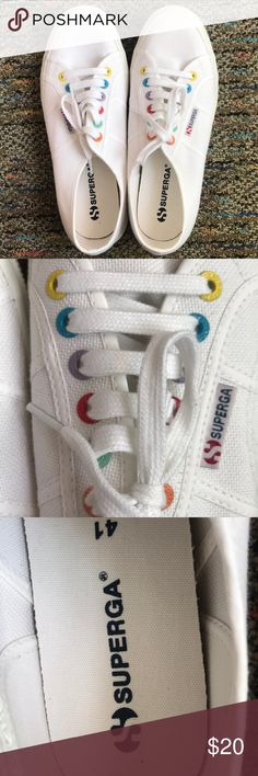 Brand new, never worn, supergas White with colorful eyelets, size 41, brand new, never worn Superga Shoes Sneakers