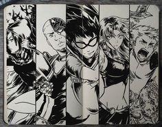 #199 Teen Titans by Picolo-kun Teen Titans Go, Teen Titans Raven, Teen Titans Fanart, Deathstroke, Gabriel Picolo, Original Teen Titans, Dc Comics, Beast Boy, Cartoon Shows