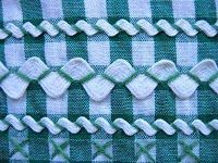"""Vintage Sewing Skills for the """"Old Fashion Vintage Farmer's Wife"""" ~~~detail of vintage dark green gingham apron with white rick rack trim Embroidery Applique, Cross Stitch Embroidery, Embroidery Patterns, Machine Embroidery, Sewing Patterns, Rick Rack, Crazy Quilting, Sewing Crafts, Sewing Projects"""