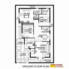 result for 2 BHK floor plans of House Plan for 20 Feet by 52 Feet plot (Plot Size 116 Square Yards) - 35 x 60 house floor plan Navarro 2bhk House Plan, Square House Plans, Duplex House Plans, New House Plans, Small House Plans, House Floor Plans, New Model House, Model House Plan, 40x60 House Plans