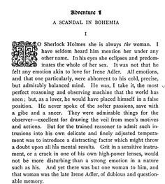 """A Scandal in Bohemia"", by Sir Arthur Conan Doyle (from The Adventures of Sherlock Holmes)"