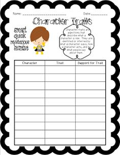"Classroom Freebies: Character Traits. Use for Habit 1 - Proactive, change to "" is the character trait proactice or reactive?"""