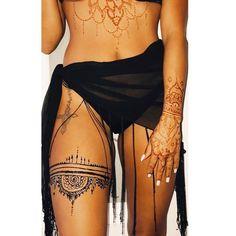 Henna Art by Christie Henna Art by Christie Thigh Garter Tattoo, Thigh Henna, Henna Leg Tattoo, Thigh Band Tattoo, Mandala Tattoo, Henna Body Art, Henna Art, Body Art Tattoos, Henna Tattoo Designs
