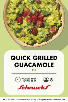 Love avocados as much as we do? Grilled guacamole is a must make. Serve as a dip or on top of fajitas. Quick Recipes, New Recipes, 30 Minute Meals, Grilled Vegetables, Learn To Cook, Fajitas, Main Meals, Guacamole, Cooking Tips