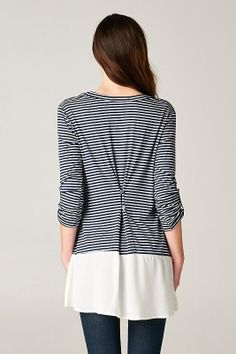 In Bloom - The Button Back Tunic, navy stripe, $32.00 (http://www.shopinbloomboutique.com/the-button-back-tunic-navy-stripe/)