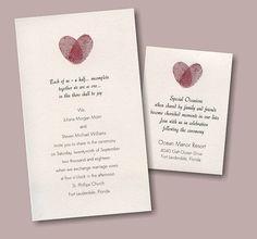 Thumbprint Heart #Wedding #Invitation