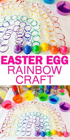 Easter Egg Rainbow Craft – HAPPY TODDLER PLAYTIME Looking for a fun colorful craft to make with your toddler or preschooler this spring? Check out this easy to set up rainbow made using Easter eggs! Easter Art, Easter Crafts For Kids, Easter Eggs, Easter Crafts For Preschoolers, Easter Ideas, Mason Jar Crafts, Bottle Crafts, Spring Crafts, Holiday Crafts