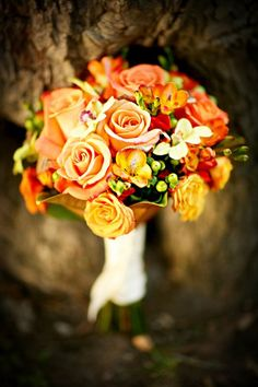 Orange Bouquet Fall Wedding Flowers Photos & Pictures - WeddingWire.com