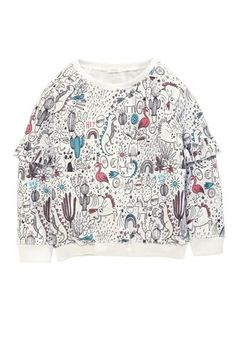 Buy White All-Over-Print Ruffle Sleeve Crew Neck Sweat (3-16yrs) from the Next UK online shop