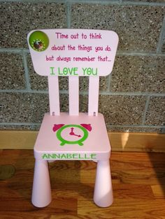 """""""Time out to think about the things you do, but always remember that. Words of encouragement AND a timer built into this chair. Personalized Time-Out Chair with It's Own Timer! Thinking Chair, Time Out Chair, Parsons Dining Chairs, Toddler Chair, Special Quotes, Kids Corner, Chair Pads, Words Of Encouragement, Kids And Parenting"""