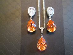Rosa durazno dama joyas Set/Swarovski collar de cristal