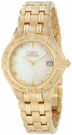 Invicta Women's 0268 II Collection Diamond Accented 18k Gold-Plated Watch Invicta. $139.99. Water-resistant to 330 feet (100 M). White mother-of-pearl dial with gold-tone hands and hour markers; luminous; 16 diamonds set on bezel. Precise Swiss-quartz movement. Durable flame-fusion crystal; brushed and polished 18k gold plated stainless steel case and bracelet. Date function. Save 84%!