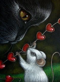 """Black Cat & Mouse Valentine Day"" by Cyra R. I Love Cats, Crazy Cats, Cute Cats, Black Cat Art, Black Cats, Image Chat, Illustration Art, Illustrations, Photo Chat"