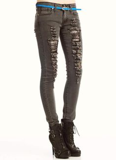 destroyed rhinestone jeans $43.50 in BLACK GREY - Jeans | GoJane.com
