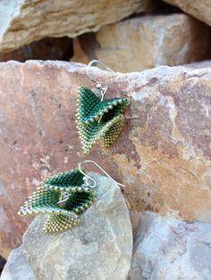 Beaded Triangle Earrings on a sterling by MeredithJaneLarsen, $35.00