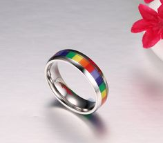 Rainbow Shoes, Rainbow Outfit, Pride Bracelet, Lgbt Couples, Pride Outfit, Pansexual Pride, Rainbow Pride, Stainless Steel Jewelry, Love Ring