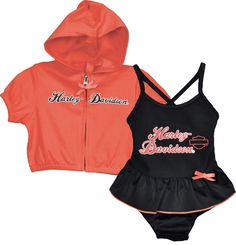 Harley-Davidson® Girls Baby Swim Set - Black Swimsuit With Coral Zip Hoodie