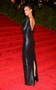 Rihanna in Tom Ford at the Met Gala, 2012.
