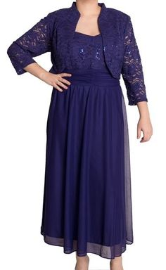 R & M Richards NEW Royal Blue Lace and Mesh Ruched Waist Dress and Jacket 16W only $39! (was $129) more sizes available by this seller #RMRichards #EmpireWaist #Formal