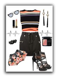 """""""Summer #18 - Black Mini Skirt"""" by sammers-i on Polyvore featuring Unravel, Ted Baker, Alexander McQueen, Gucci, Alaïa, Valentino, Taylor Morris and Christian Dior"""