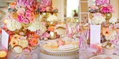 decoração de casamento rosa e dourado - Pesquisa Google